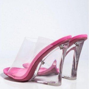 Peep Toe Lucite Wedges in Pink